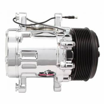 Tuff-Stuff Performance - Tuff-Stuff Air Conditioning Compressor - Peanut Style - R-134A - 8 Rib Serpentine Pulley - Chrome - Universal - Each