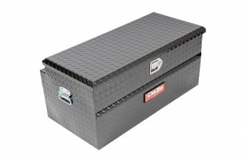 "Dee Zee - Dee Zee Red Label Truck Box - Toolbox - Single Lid - 37.13"" Long - 19"" Wide - Aluminum - Diamond Plate - Black Powder Coat - Universal"