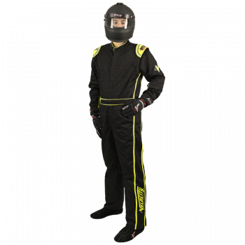 Velocity Race Gear - Velocity 1 Sport Suit - Black/Fluo Yellow - Large