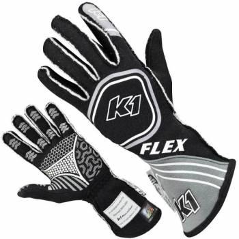 K1 RaceGear - K1 RaceGear Flex Youth Gloves - Black/Grey - 2X-Small