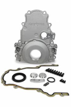 Comp Cams - Comp Cams Timing Cover - 2 Piece - Gaskets / Hardware - Aluminum - Black Anodized - GM LS-Series