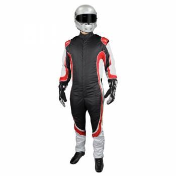 K1 RaceGear - K1 RaceGear Champ Suit -SFI/FIA - Black/Red - 3X-Large (68)