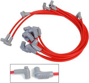 MSD - MSD Race Tailored Super Conductor Plug Wire Set - (Red) - Fits All SB Chevy w/ Low Profile Distributor (#MSD84697/84997/8558) w/ Wires Below Headers, Exhaust Manifold - 90° Distributor Boots & Terminals