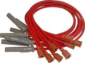 MSD - MSD Custom Fit Super Conductor Spark Plug Wire Set - (Red) - Fits 1973-On Mopar 318/340/360 Cars & Trucks w/ #MSD8549, #MSD8386 Distributor - 90° HEI Distributor Boots & Terminals, Multi-Angle Spark Plug Boots & Terminals