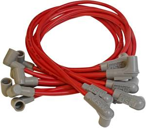 MSD - MSD Race Tailored Super Conductor Spark Plug Wire Set - (Red) - Fits All SB Chevy w/ Socket Style Distributor Cap w/ Wires Below Exhaust Manifolds, Headers - 90° Socket Distributor Boots & Terminals, 90° Spark Plug Boots & Terminals