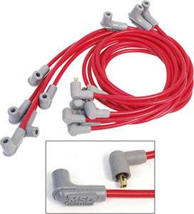 MSD - MSD Race Tailored Super Conductor Spark Plug Wire Set - (Red) - Fits All BB Chevy w/ Socket Style Distributor Cap w/ Wires Below Exhaust Manifolds, Headers - 90° Socket Distributor Boots & Terminals, 90° Spark Plug Boots & Terminals