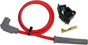 MSD - MSD Replacement Super Conductor Spark Plug Wire - (Red) - 90° HEI Distributor Boot, 90° Spark Plug Boot - 48""