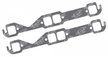 """Mr. Gasket - Mr. Gasket Ultra Seal Exhaust Manifold Gaskets - SB Chevy - Stock , Small Race Port - Exhaust Port Width: 1.45"""" , Exhaust Port Height: 1.55"""" , Center Port to Gasket Top: .86"""""""
