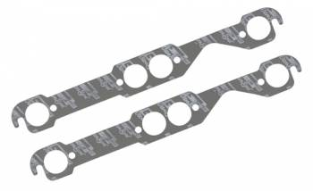 "Mr. Gasket - Mr. Gasket Ultra Seal Exhaust Manifold Gaskets - SB Chevy - Round Port - Exhaust Port Width: 1.50"" , Exhaust Port Height: 1.50"" , Center Port to Gasket Top: .77"""