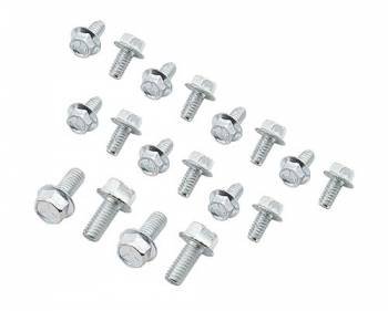 "Mr. Gasket - Mr. Gasket Oil Pan Bolt Kit - Fits SB Chevy , 90° Chevy V-6 , Olds V-8 - 1/4""-20 x 1/2"" (14 Pieces) , 5/16""-18 x 3/4"" (4 Pieces)"