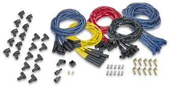 Moroso Performance Products - Moroso Blue Max Spiral Core Universal Ignition Wire Set - 8 Cylinder Engines - 8 Cylinder Engines - Plug Terminals/Boots: 90°; Dist - Terminals/Boots: HEI & Non-HEI; Wire Color: Yellow