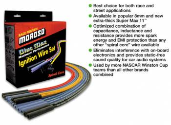 Moroso Performance Products - Moroso Blue Max Spiral Core Race Wire Set - SB Chevy - Configuration: Under Headers; Plug Terminals: 90°; Dist - Terminals: HEI