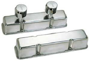 Moroso Performance Products - Moroso Die-Cast Aluminum Valve Covers - Polished - SB Chevy - Tall Design - Two Breather Tubes