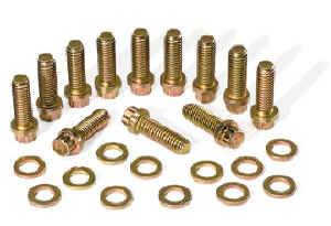"Moroso Performance Products - Moroso Intake Manifold Bolt Kit - SB and 90° Chevy V6 and SB Chryslers w/ Single Plane Manifold - 3/8""-16 x 1-1/8"" - 12 to a Set"
