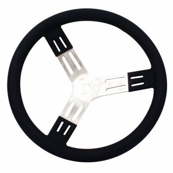 "Longacre Racing Products - Longacre 15"" Aluminum Steering Wheel - Black w/ Natural Spokes and Smooth Grip"