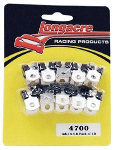 "Longacre Racing Products - Longacre Adel Line Clamps - 3/16"" I.D. Steel Brake Lines (Pack of 10)"