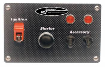 Longacre Racing Products - Longacre Carbon Fiber Flip -Up Start, Ignition Switch Panel w/ 2 Accessory & Pilot Lights
