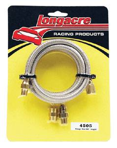 "Longacre Racing Products - Longacre Steel Braided Gauge Line - 48"" w/ Block Fitting"
