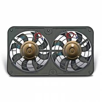 "Flex-A-Lite - Flex-A-Lite Dual Pusher 12"" Low Profile Electric Fan- 2500 CFM - Amp Draw: 19.5 - Adj. Thermostat 180°-240° - A/C Relay"