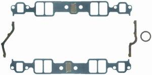"""Fel-Pro Performance Gaskets - Fel-Pro Intake Manifold Gaskets - SB Chevy - Cast Iron & Aluminum Heads w/ Conventional Ports, Stock w/ Blocked Exhaust Crossover - 1.23"""" x 1.99"""" Port Size - .060"""" Thickness"""