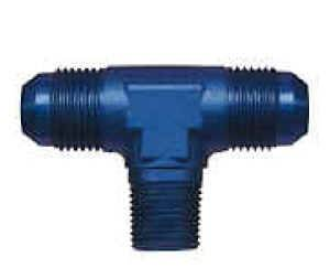 "Earl's Performance Products - Earl's Aluminum Pipe Thread to AN Adapter Tee - Pipe Thread On Side - 3/8"" NPT to -08 AN"
