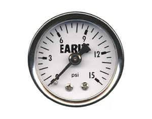 "Earl's Performance Products - Earl's Oil Filled Fuel Pressure Gauge - 0-15 PSI - 1/8"" NPT - Male Thread"