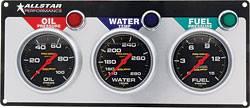 Allstar Performance - Allstar Performance Auto Meter Pro-Comp Liquid-Filled 3 Gauge Panel - WT/OP/FP