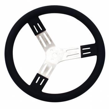 "Longacre Racing Products - Longacre 15"" Aluminum Steering Wheel - Black w/ Bump Grip"