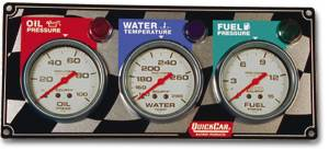 QuickCar Racing Products - QuickCar 3 Gauge Panel w/ Auto Meter Ultra-Lite Gauges - OP/WT/FP