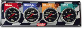 QuickCar Racing Products - QuickCar 4 Gauge Panel w/ Auto Meter Sport Comp Gauges - OP/WT/OT/FP