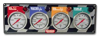 QuickCar Racing Products - QuickCar 4 Gauge Panel w/ Auto Meter Ultra-Lite Gauges - OP/WT/OT/FP