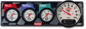 "QuickCar Racing Products - QuickCar 3-1 Gauge Panel - OP/WT/FP w/ 5"" Memory Tachometer"