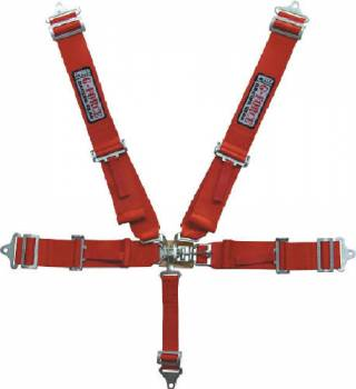 G-Force Racing Gear - G-Force Pro Series Latch & Link 5 Point Restraint System - Individual Shoulder Harness, Pull-Down Lap Belt - Bolt-In - Red