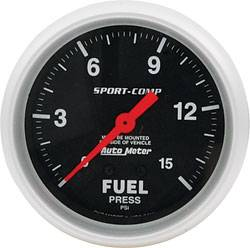 "Allstar Performance - Allstar Performance 2-5/8"" Auto Meter Fuel Pressure Gauge - Sport Comp - 15 PSI"