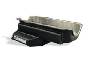 Moroso Performance Products - Moroso Power Kickout Series Oval Track Wet Sump Oil Pan - GM A-Body Cars - Street Stock - Late Model - 7 Quart Capacity - Painted Steel - Stage I Pan - Pre-1980 Blocks w/ Driver-Side Dipstick