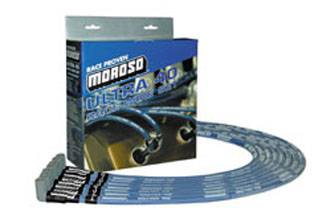 Moroso Performance Products - Moroso Ultra 40 Race Wire - S.B - Chevy Sleeved Under Header - 90° Plug - Non-HEI