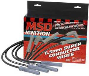 MSD - MSD 8.5mm Super Conductor Spark Plug Wire Set - Spiral Core - Black - Multi-Angle Plug Boot - Universal - L8, V8