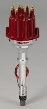 PerTronix Performance Products - PerTronix Flame-Thower Billet Distributor - Magnetic Pickup - Mechanical Advance - Red Male Terminal Cap - Chevy Big, SB