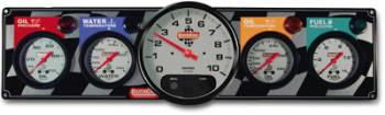 "QuickCar Racing Products - QuickCar 4-1 GN Gauge Panel - OP/WT/OT/FP w/ 3-3/8"" Remote Recall Tachometer"