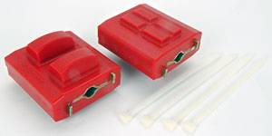 Prothane Motion Control - Prothane Small Clam Shell Engine Mount Insert - Chevrolet (Early) - Red - (Sold In Pairs)