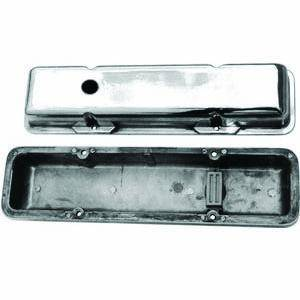 Racing Power - Racing Power Polished Aluminum Valve Covers - Short - SB Chevy 58-86 Valve Covers - (1) Hole