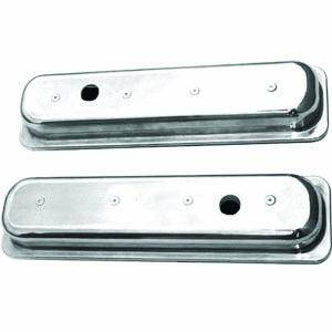 Racing Power - Racing Power Polished Aluminum Valve Covers - Short - SB Chevy 87-97 Valve Covers - (1) Hole