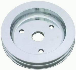 "Racing Power - Racing Power Polished Aluminum Crankshaft Pulley - Double Groove V-Belt - SB Chevy Short Water Pump - 6.60"" Diameter"