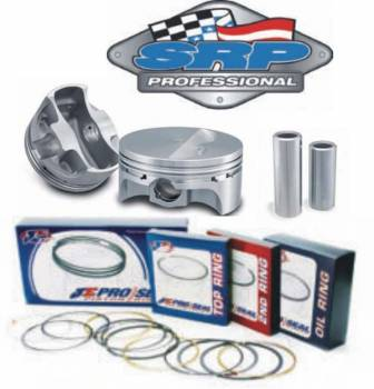 "Sportsman Racing Products - SRP Professional Forged Flat-Top Piston & Ring Kit - SB Chevy - 4.155"" Bore, 3.875"" Stroke, 6.000"" Rod"