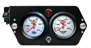 QuickCar Racing Products - QuickCar Deluxe Sprint Car 2 Gauge Dash Panel w/ Warning Light Kit - OP/WT