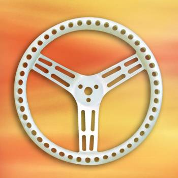"""Longacre Racing Products - Longacre 14"""" Natural Aluminum Non-Coated Steering Wheel - Dished - Drilled"""