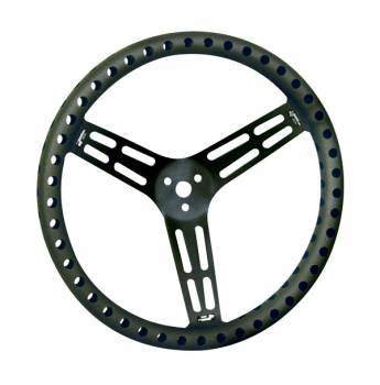 """Longacre Racing Products - Longacre 15"""" Black Aluminum Non-Coated Steering Wheel - Dished - Drilled"""