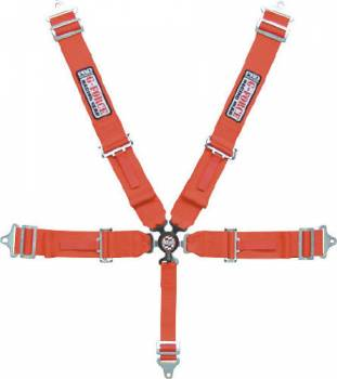 G-Force Racing Gear - G-Force Pro Series Camlock 5 Point Restraint System - Individual Shoulder Harness, Pull-Down Lap Belt - Red