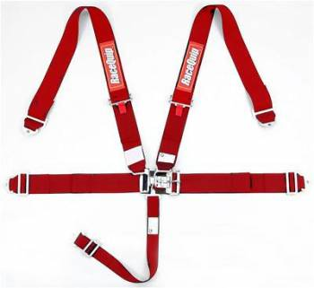 RaceQuip - RaceQuip Latch & Link 5-Point Harness Assembly - Pull Down - Bolt-In or Wrap Around Mount - Red