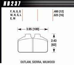 Hawk Performance - Hawk Performance Brake Pad Set - Fits Dynalite Bridgebolt & Similar Calipers - DTC-30 Compound